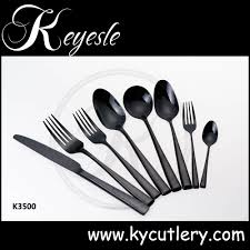 Black Cutlery Set Titanium Flatware Set Black Gold Plated Cutlery Black Flatware
