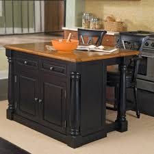 simple kitchen with wooden black painted kitchen island stool set