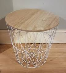 wire and wood basket side table retro side table coffee table loft style metal wire basket wood