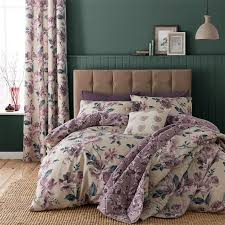 painted floral duvet quilt cover set bed linen king size