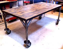 industrial kitchen table furniture table on casters dining wheels pertaining to idea 13 jeffandjewels com