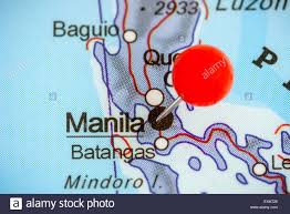 Push Pin Map Close Up Of A Red Pushpin On A Map Of Manila Philippines Stock