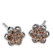 cluster stud earrings 0 14ctw colored diamond cluster sterling silver stud earrings
