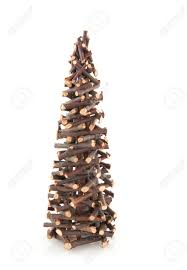 simple christmas tree from little wooden twigs stock photo