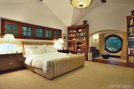 bedroom rustic theme of traditional bedroom on hardwood flooring