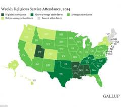map usa bible belt which states attend church the most new map has the answer