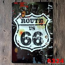 route 66 car plates painting vintage tin sign bar pub home wall