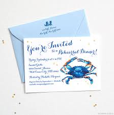 rehearsal dinner invitations watercolor blue crab rehearsal dinner invitations