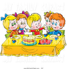 Kids Eating Table Clip Art Of A Colorful Group Of Children Eating Cake At A Table By