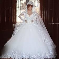 robe de mari e de princesse de luxe luxe vintage manches longues dentelle robe de mariée 2016 robe de