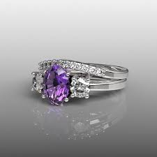 amethyst engagement ring sets 10k white gold engagement ring and wedding band set purple
