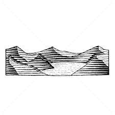 vectorized ink sketch of a mountain lake vector illustration