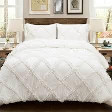 Ruffle Bedding Set White Ruffle Comforter Set 3 Pieces Antique Farmhouse