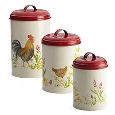 rooster canisters kitchen products amazon com paula deen pantryware food storage canister set 3