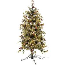 4 1 2 fast shape snow needle pine tree with led lights happy