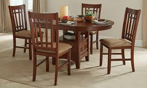 mission oak dining height pedestal table with 4 chairs haynes