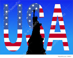 American Flag In Text Illustration Of Statue Of Liberty Usa Text
