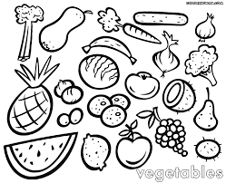 fruit and vegetable coloring page funycoloring