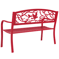 Steel Patio Chairs Rose Red Steel Patio Garden Park Bench Outdoor Living Patio