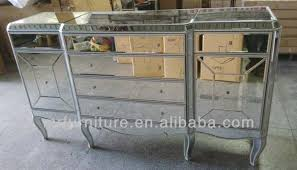 bedroom mirrored furniture large console with antique gold finish