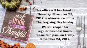 thanksgiving 2017 office closed recordgazette net