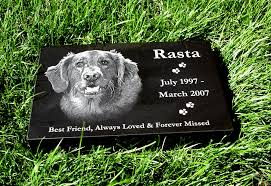 tombstones for your pets photo engraved on a pet memorial headstone marker