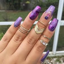 purple lavender fuchsia plum long coffin nails