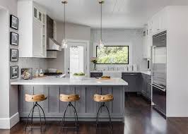 Staining Kitchen Cabinets White Kitchen White Upper Cabinets Gray Distressed Lower Cabinets