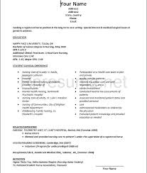 Occupational Therapy Resume New Grad New Grad Resume Template Examples Of Resumes Fresh Graduate