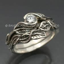 leaf wedding band wedding ring set delicate leaf engagement ring with matching