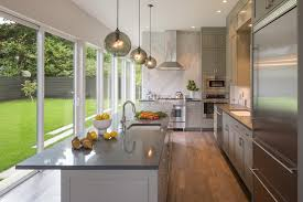 Kitchen Countertops Seattle - seattle grey quartz countertops kitchen transitional with sliding