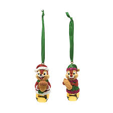 chip n dale festive hanging ornaments set of 2