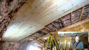 installing 1x7 tongue and groove pine on lower ceiling part