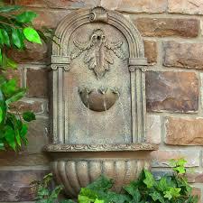 solar battery powered wall water fountain outdoor home garden