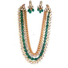 emerald stone necklace jewelry images Kundan gold pearl emerald stone long reversible necklace and jpg