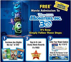 free movie admission disney pixar monsters 3d wyb select
