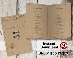 kraft paper wedding programs printable wedding ceremony book template unlimited pages multi