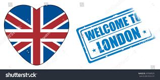 Uk Flag Ai Stamp Words Welcome London Heart Uk Stock Illustration 645088525