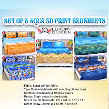 Best Fabric For Bed Sheets Buy Set Of 5 Aqua 3d Print Bedsheets 5bs9 Online At Best Price