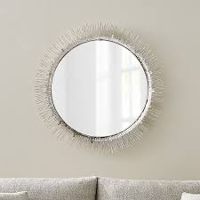 Crate And Barrel Wall Sconce Clarendon Large Round Silver Wall Mirror Crate And Barrel