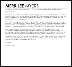 sample cover letter for a mechanical engineer livecareer
