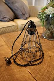 plug in hanging light fixtures industrial cage wire pendant light or desk l handmade plug in