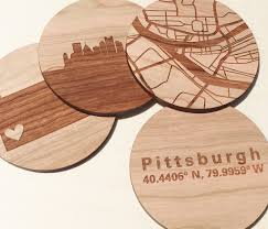 wood city coasters wood city map wood anniversary gift 5th