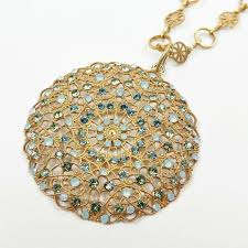 gold medallion necklace images Catherine popesco gold medallion necklace with swarovski crystals jpg