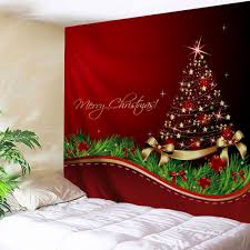 red w91 inch l71 inch christmas tree bowknot print tapestry wall