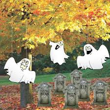 halloween lawn decorations corrugated plastic ghosts in graveyard