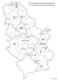 Map Of Serbia Inter Map Of Business Incubators In Serbia