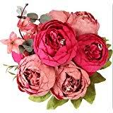 Faux Peonies Eight Stems Of Artificial Silk Pink Peonies Amazon Co Uk Kitchen