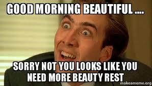 Meme Beauty - good morning beautiful sorry not you looks like you need more