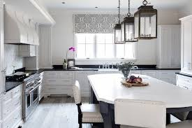 White Kitchen Black Island White Kitchen With Black And White Harlequin Tile Floor